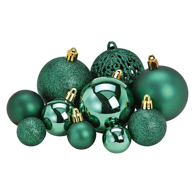 Xmas ball set of 50, plastic, green, 23x18x12cm Ø3/4/6cm