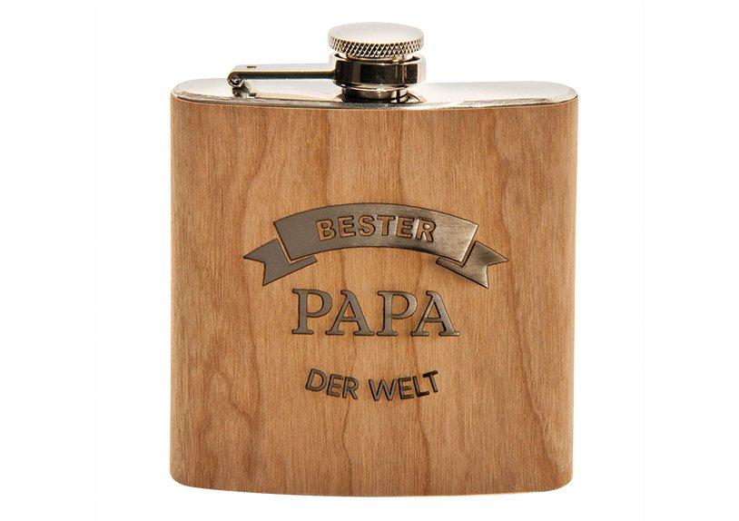 Flachmann Bester Papa der Welt aus Holz Natur (B/H/T) 10x12x3cm