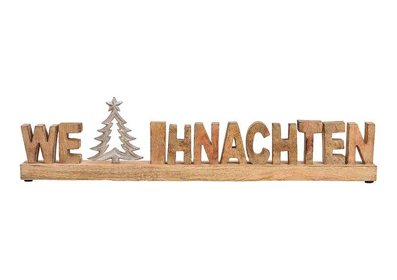 Wording weihnachten with tree decor, metal, mangowood, brown 61x18x5cm