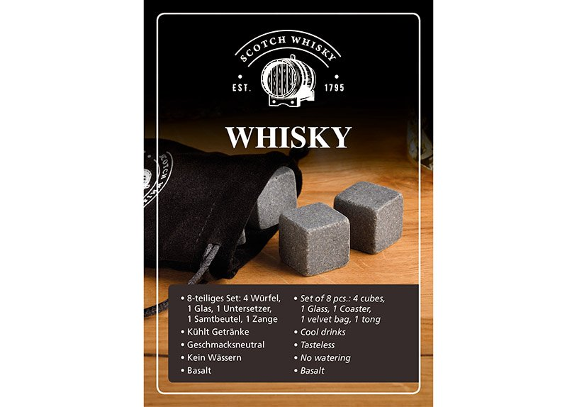 Whiskey set, ice cubes basalt stone grey set of 8, 13x10x18cm