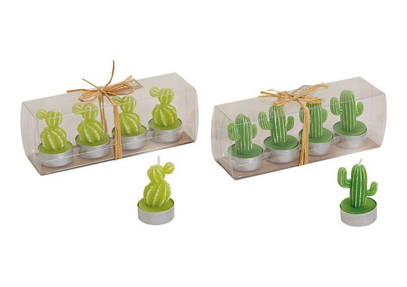 Teelicht Set Kaktus  aus Wachs Grün 4er Set, 2-fach, (B/H/T) 4x6x4cm