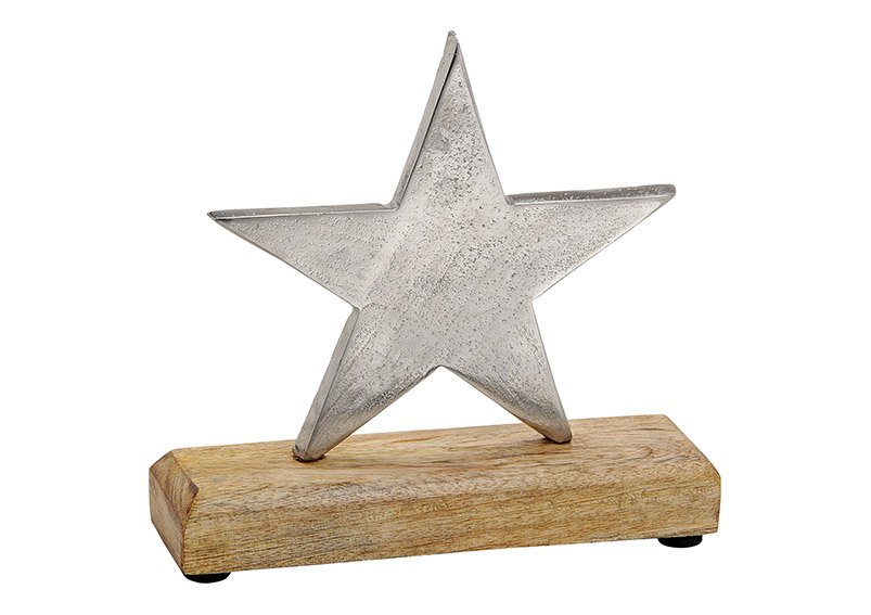 Star made of metal, mango wood, silver color, 15x15x5cm