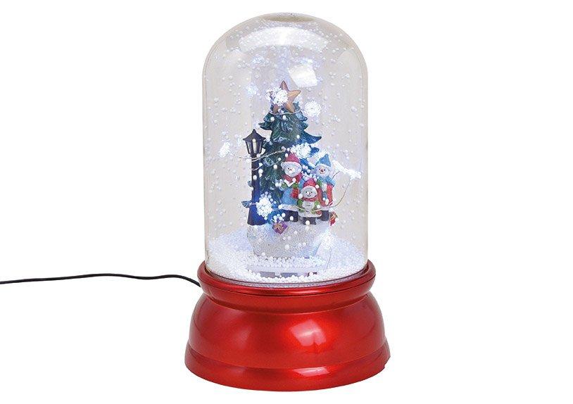 Spieluhr Tannenbaum mit Licht, Musik Schneewirbel aus Kunststoff Transparent, rot (B/H/T) 18x30x18cm