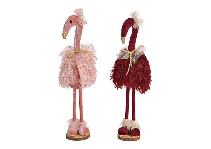 Flamingo aus Kunststoff, Textil, Holz Bordeaux, pink 2-fach, (B/H/T) 13x42x13cm