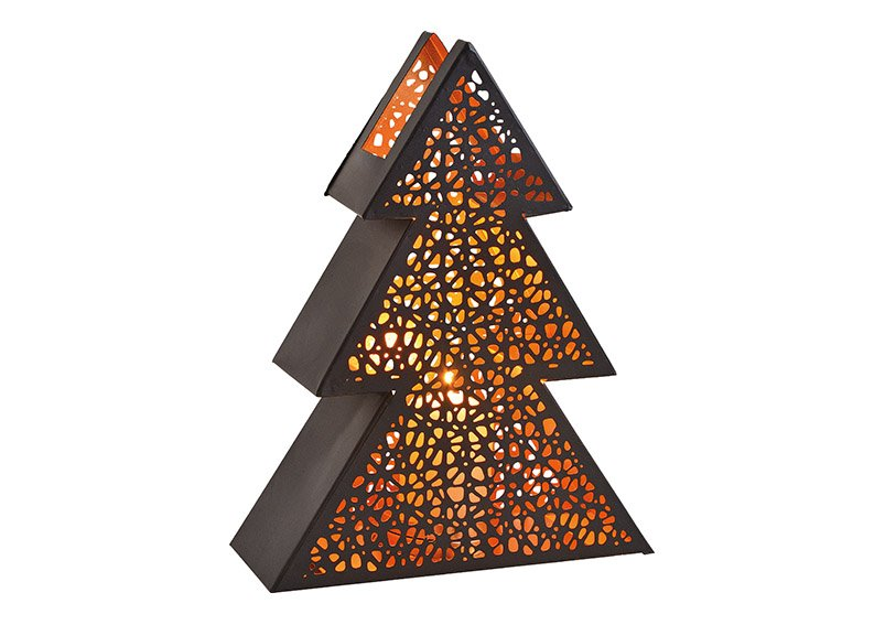Windlight christmas tree metal black 25x33x10cm
