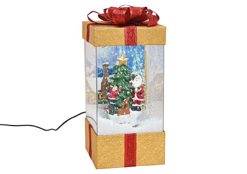 Spieluhr Geschenkbox mit Licht, Musik Schneewirbel, Nikolaus und Baum Dekor aus Kunststoff Transparent, gold (B/H/T) 15x32x15cm