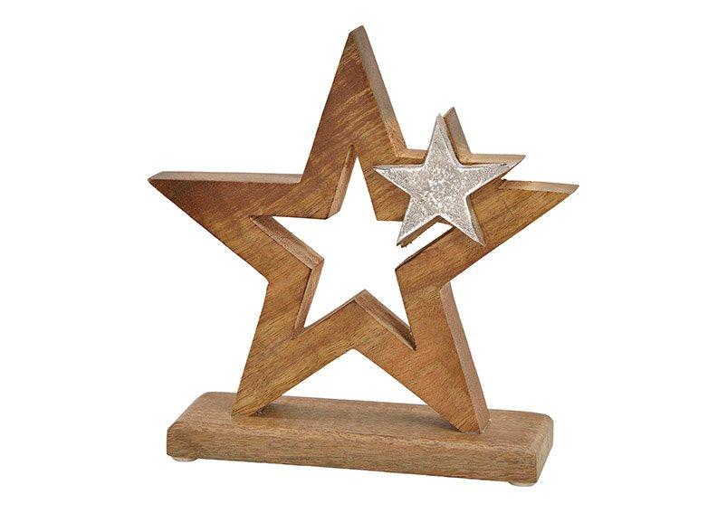 Star with metal star dekor, mango wood, brown, 20x21x6cm