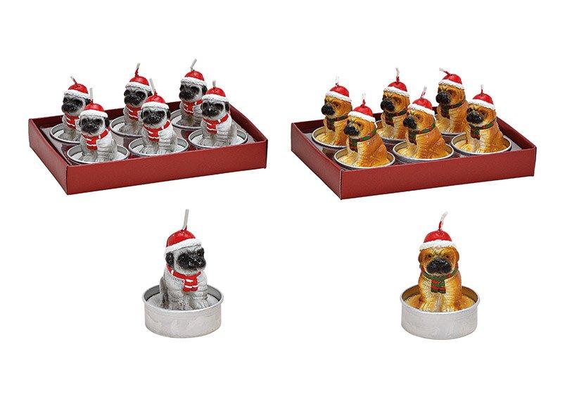 Tealight set of 6, dog with christmas hat, 4x5x4cm, 2 asst.  13x6x9cm