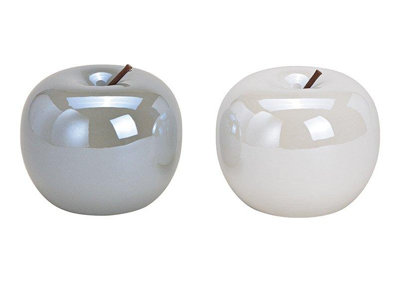 Apfel aus Keramik Weiß, grau 2-fach, (B/H/T) 13x13x13cm