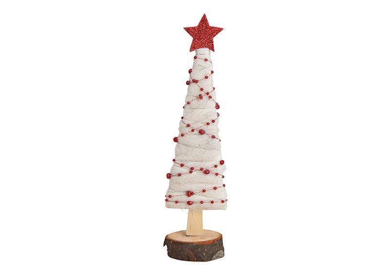 Aufsteller Tannenbaum aus Holz, Wolle Weiß (B/H/T) 6x24x5cm