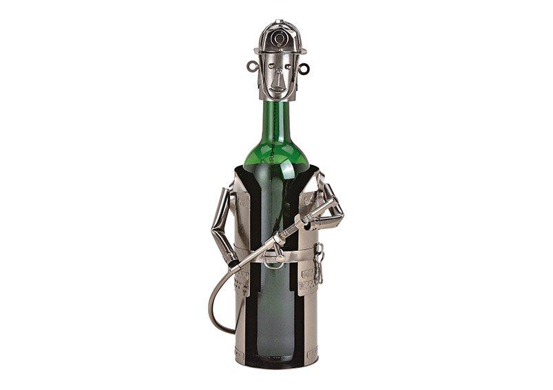 Flaschenhalter für Weinflasche Feuerwehrmann aus Metall Schwarz (B/H/T) 14x24x15cm