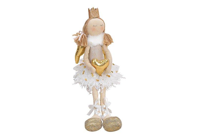 Kantenhocker Engel mit Herz aus Textil Beige, gold (B/H/T) 10x25/45x9cm