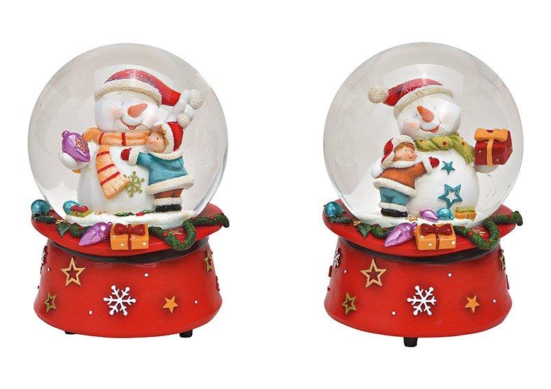 Spieluhr, Schneekugel Schneemann aus Poly, Glas Bunt 2-fach, (B/H/T) 10x14x10cm