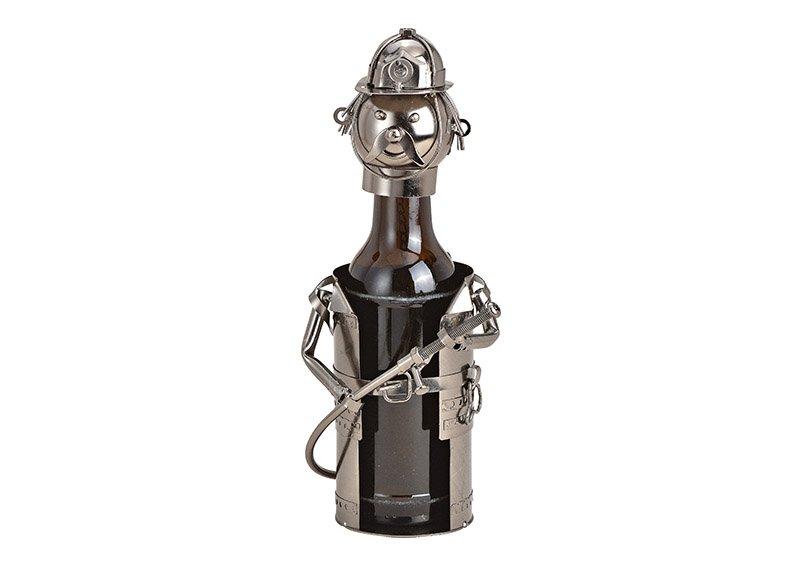 Flaschenhalter für Bierflasche Feuerwehrmann aus Metall Schwarz (B/H/T) 12x19x12cm