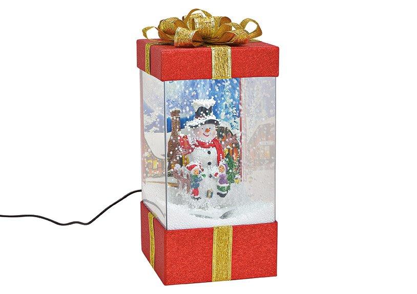 Spieluhr Geschenkbox mit Licht, Musik Schneewirbel, Schneemann Dekor aus Kunststoff Transparent, rot (B/H/T) 15x32x15cm