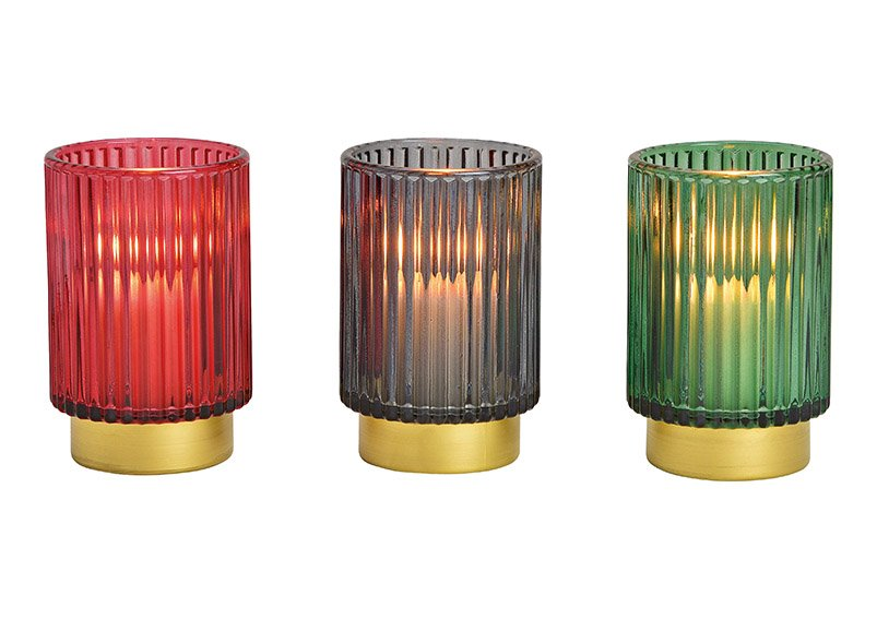 Windlight, glass, red, blue, green, 8x13x8cm