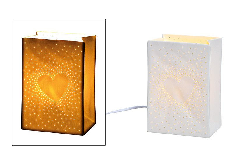Tischlampe Herz Dekor aus Porzellan Weiß (B/H/T) 12x18x8cm