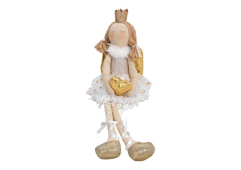 Kantenhocker Engel mit Herz aus Textil Beige, gold (B/H/T) 11x30/58x10cm
