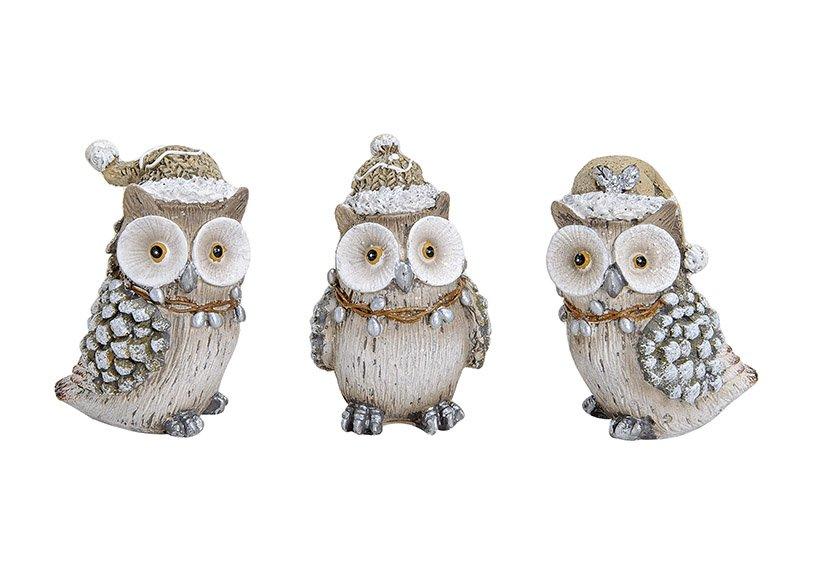 WINTER OWL POLY 3-ASS. 4X4X7 CM