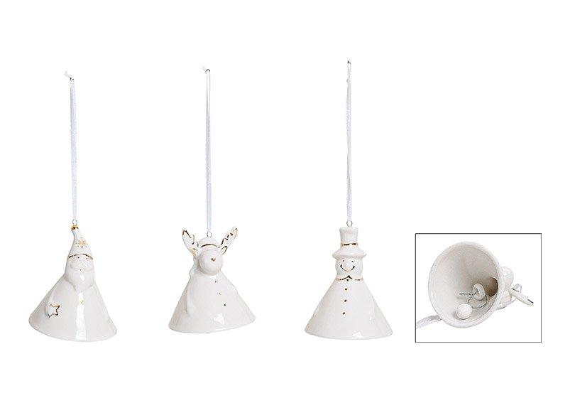 Weihnachtshänger Glocke Nikolaus, Schneemann, Elch aus Keramik Weiß 3-fach, (B/H/T) 6x7x6cm