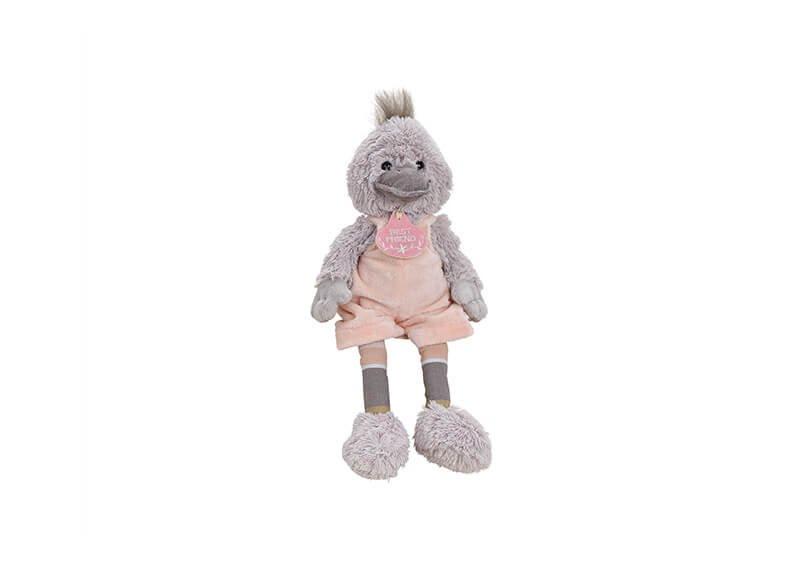 Ente mit Anhänger Best Friend aus Plüsch Grau, pink (B/H/T) 17x25x25cm