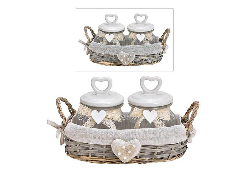 Jar set, in basket, glass, ceramic heart lid, set of 3, 28x18x16cm