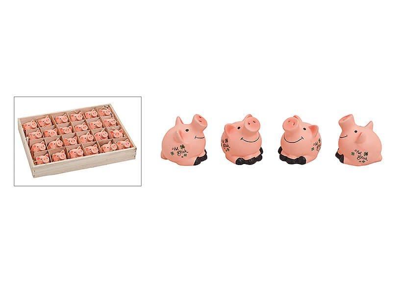 Glücksschwein aus Ton, B4 x T3 x H4 cm