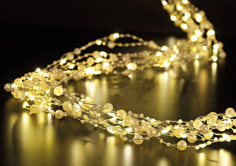 Lichterkette Perlen, mit Timer, 150er Micro, in warmweiß, 150 cm
