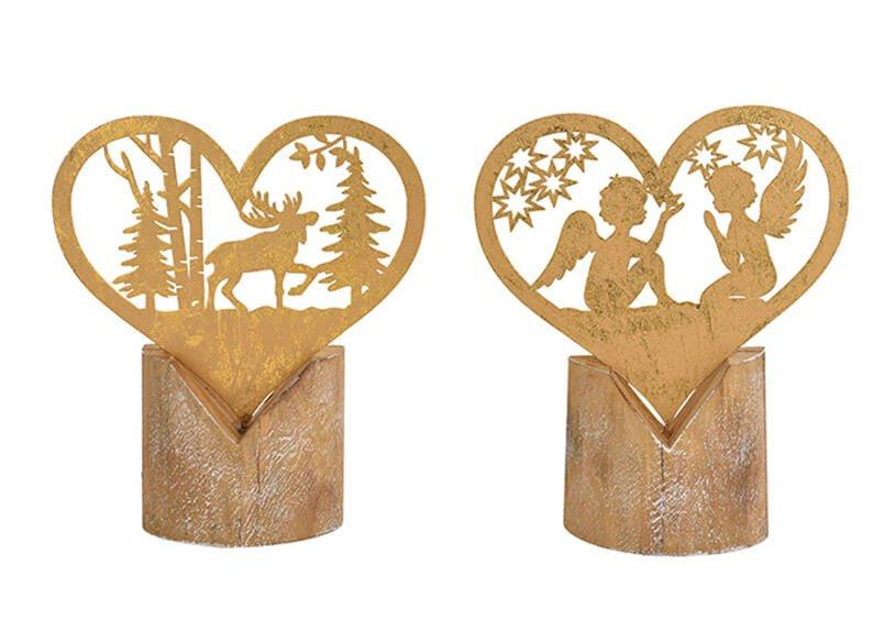 Heart angel, winter forest on wooden base metal gold 19x22x5cm 2 asst.