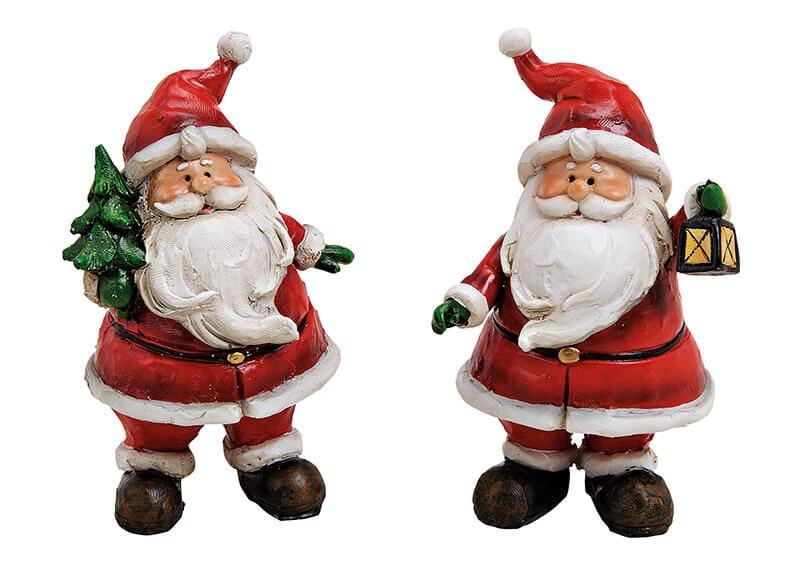 Santa polyresin, red, 2-assorted (w/h/d) 8x11x6cm