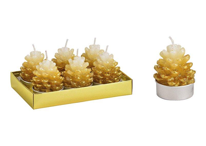 Tealight-set pinecone  4x6x4cm wax gold 6-set 14x9x7cm