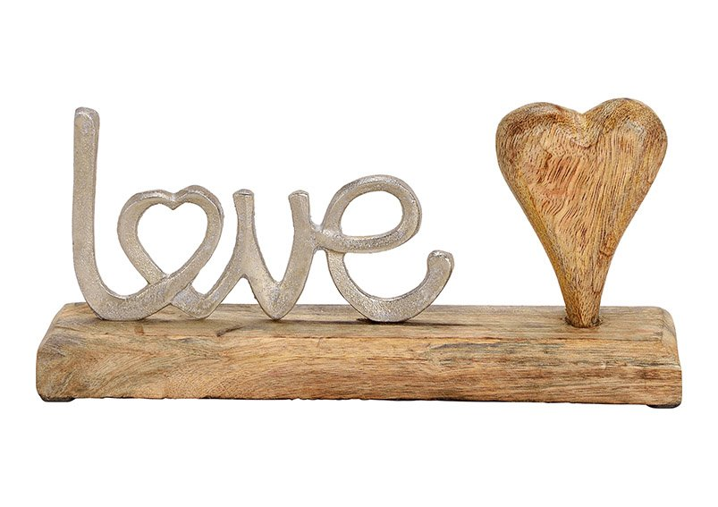 "Display stand ""love"" metal with mangowood heart and base silver/brown 25x12x5cm"