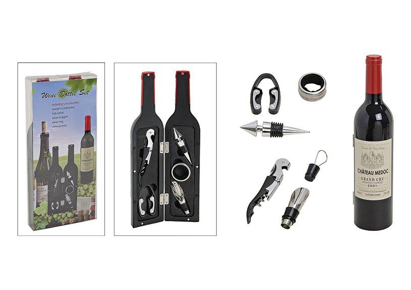 Geschenkset Flasche aus Kunststoff, Weinzubehör 5-teilig, (H) 32 cm x 7 cm Ø