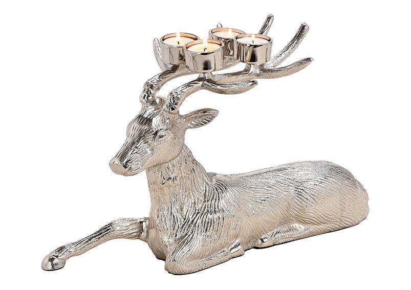Adventsgesteck, Teelichthalter Hirsch liegend aus Alu Silber (B/H/T) 45x27x18cm