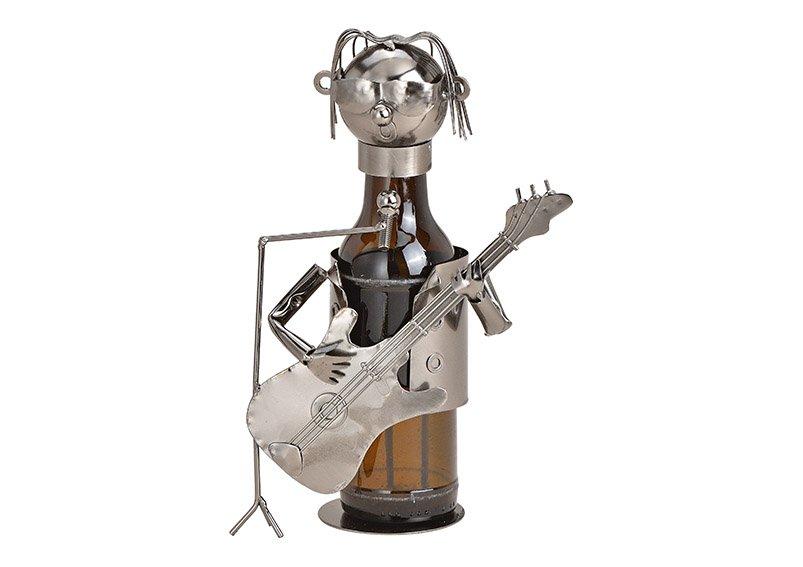 Flaschenhalter für Bierflasche Gitarrist aus Metall Schwarz (B/H/T) 16x19x9cm