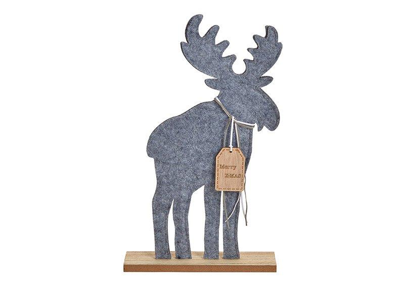 Elch Merry Christmas aus Filz Grau (B/H/T) 27x39x6cm