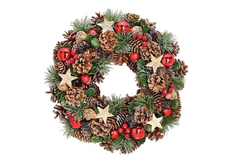 Christmas wreath, with star, balls, wood, plastic,  34x8x34cm