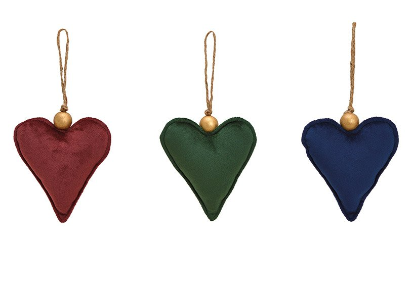 Hänger Herz aus Textil Bordeaux, grün, blau 3-fach, (B/H/T) 12x14x4cm