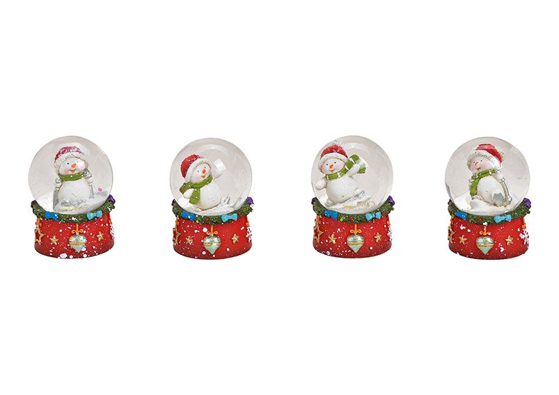 Snowball Snowman with christmas hat poly, glass colorful 4-Asst. 4x6x4cm