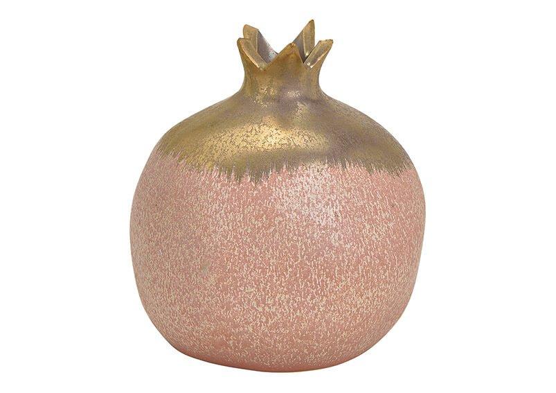 Vase pomegranate ceramic pink/rose/gold 11x12x11cm
