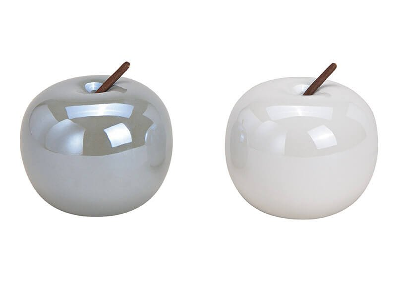 Apfel aus Keramik Weiß, grau 2-fach, (B/H/T) 9x9x9cm