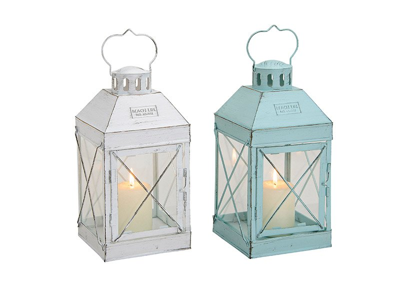Lantern white  metal/glass 14x14x27cm