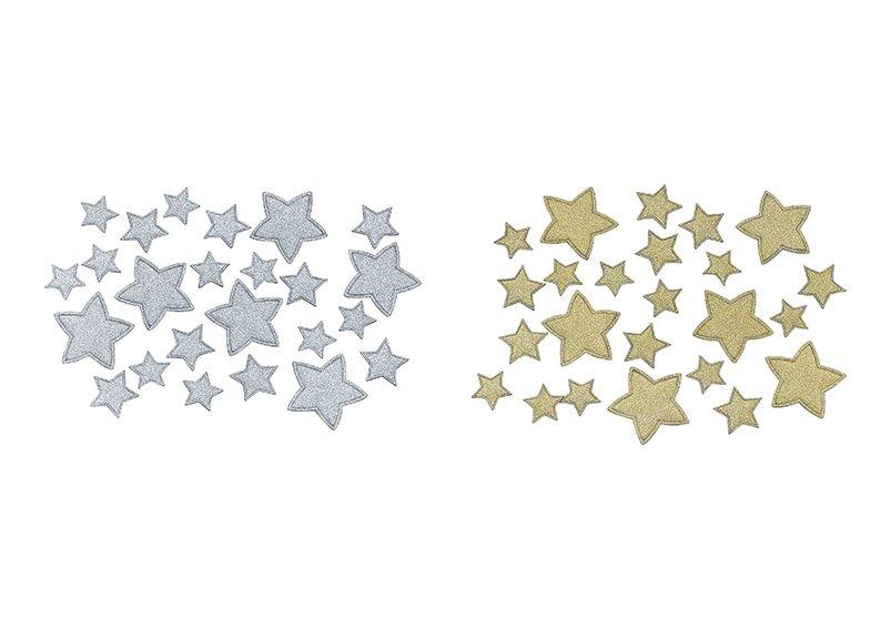 Streu Set, Stern aus Glitter Papier/Pappe Champagner, silber 24er Set, 2-fach, 6 Stk. Ø4cm, 8 Stk. Ø3cm, 10 Stk. Ø2cm