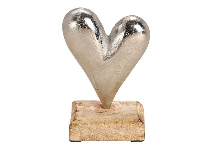 Display stand heart on metal mangowood base silver/brown 9x14x5cm