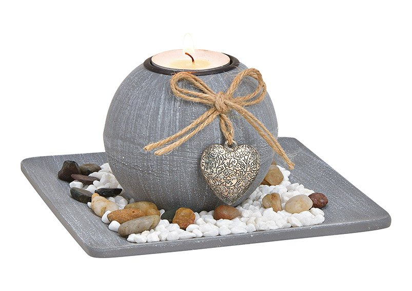 Tealight holder with decorative stones gray made of wood, (w / h / d) 15x9x15cm