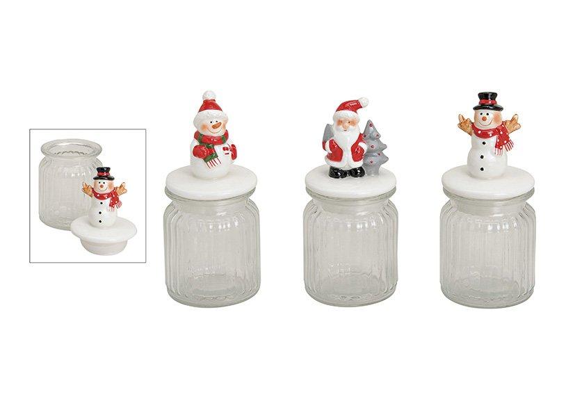 Vorratsglas Weihnachts Motiv aus Glas/Keramik, 3-fach sortiert, B16 x T8 cm