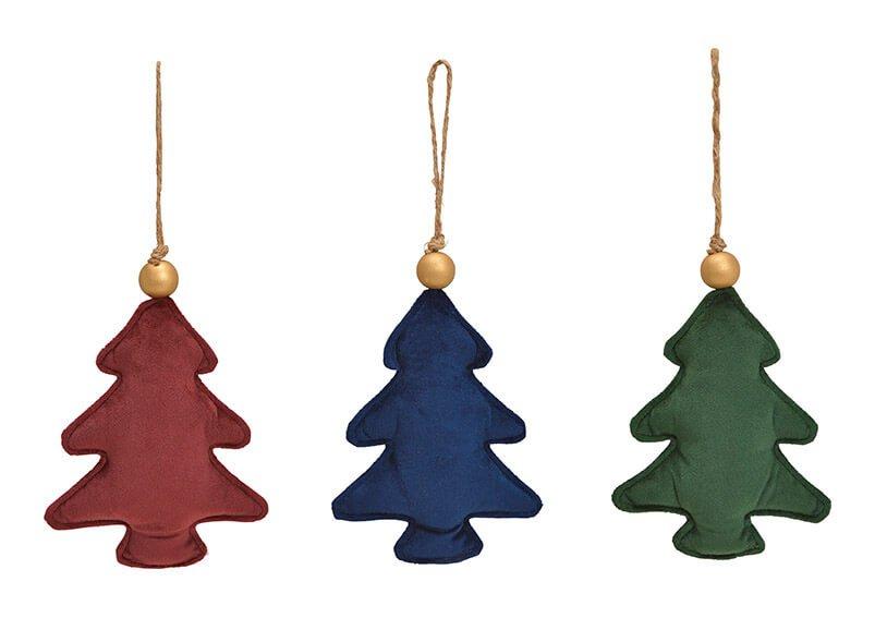 Hänger Tannenbaum  aus Textil Bordeaux, grün, blau 3-fach, (B/H/T) 13x18x4cm
