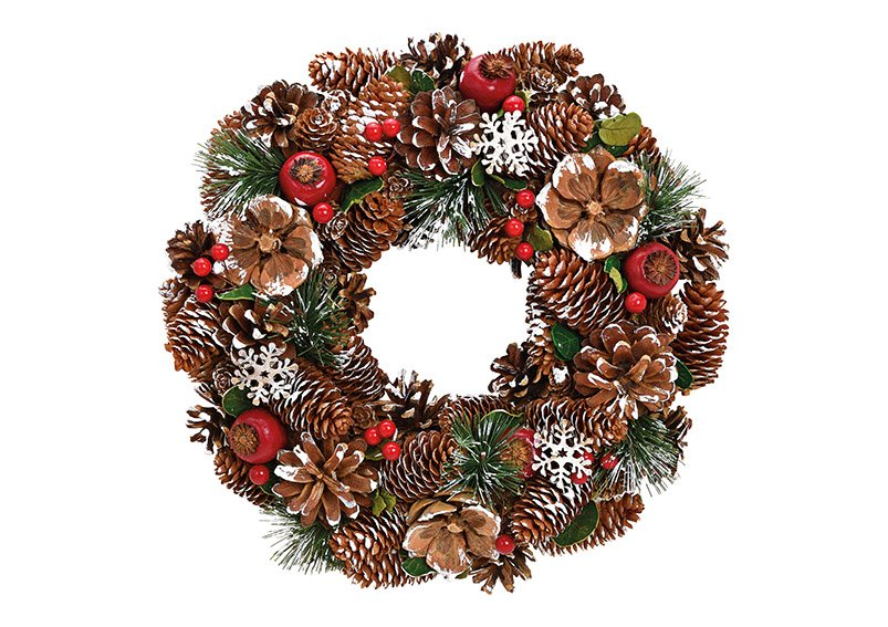 Christmas wreath made of wood, plastic brown, red, green (w / h / d) 34x8x34cm