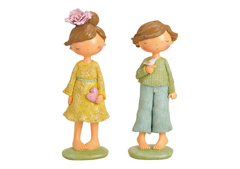 Figur Mädchen/Junge aus Poly Bunt 2-fach, (B/H/T) 8x23x8cm 8x21x7cm