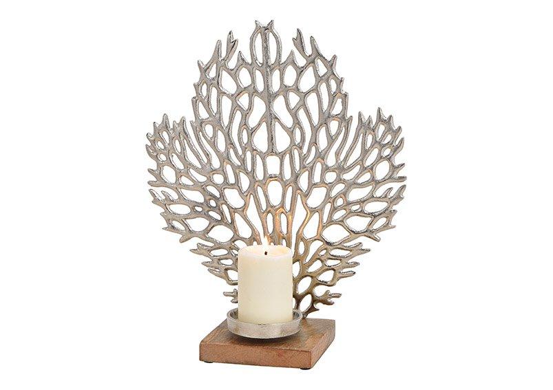 Candleholder coral metal mangowood base silver, 34x40x14cm